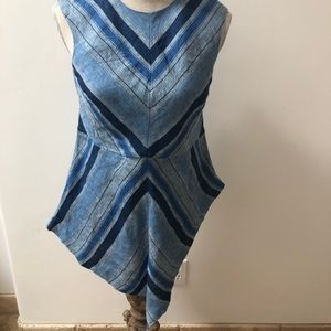 NWT CHICO's blue striped sleeveless tunic top, 00